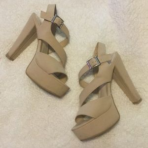 Nude platform heels!!